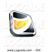 Logo of a 3d Black Square Button with a Yellow Wave by Beboy