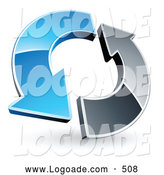 Logo of a 3d Blue and Chrome Arrow Circling by Beboy