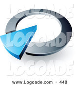 Logo of a 3d Blue Arrow in a Silver Circular Dial, Above Space for a Business Name and Company Slogan by Beboy