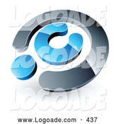Logo of a 3d Chrome and Blue Copyright Symbol, Above Space for a Business Name and Company Slogan by Beboy