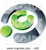 Logo of a 3d Chrome and Green Copyright Symbol, Above Space for a Business Name and Company Slogan by Beboy