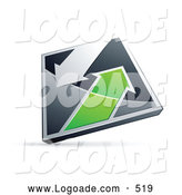 Logo of a 3d Chrome and Green Diamond with Arrows by Beboy