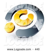 Logo of a 3d Chrome and Yellow Copyright Symbol, Above Space for a Business Name and Company Slogan by Beboy