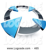 Logo of a 3d Chrome Circle with Four Blue Arrows Pointing Inwards by Beboy