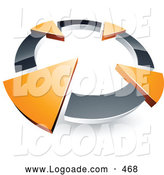 Logo of a 3d Chrome Circle with Four Orange Arrows Pointing Inwards by Beboy