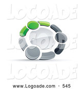 Logo of a 3d Circle of Three Green, Gray and Black People Holding Hands by Beboy