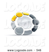 Logo of a 3d Circle of Three Yellow, Gray and Black People Holding Hands by Beboy