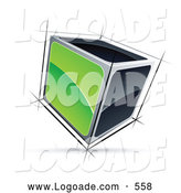 Logo of a 3d Cube with Green and Black Sides by Beboy