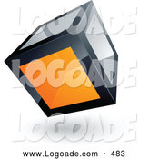 Logo of a 3d Cube with One Orange Transparent Window by Beboy