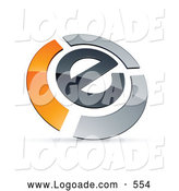 Logo of a 3d E Circled by Chrome and Orange Bars by Beboy