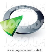 Logo of a 3d Green Arrow in a Silver Circular Dial, Above Space for a Business Name and Company Slogan by Beboy