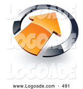 Logo of a 3d Orange Arrow Pointing Inwards in a Blue Circle by Beboy