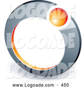 Logo of a 3d Orange Ball in a Chrome Ring, Above Space for a Business Name and Company Slogan by Beboy