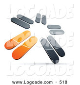 Logo of a 3d Pre-Made Logo of Chrome and Orange Blades Spinning by Beboy