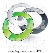 Logo of a 3d Pre-Made Logo of Silver, Gray and Green Rings Entwined by Beboy