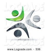 Logo of a 3d Pre-Made Logo of Three Green, Chrome and Black People Celebrating or Dancing by Beboy