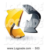 August 31st, 2013: Logo of a 3d Rotating Pre-Made Logo of Gray and Yellow Circling Arrows by Beboy