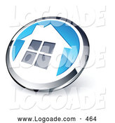 Logo of a 3d Shiny Round Chrome and Blue Home Button by Beboy
