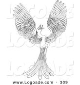 Logo of a Black and White Coloring Page of a Magical Flying Phoenix Bird Looking up by AtStockIllustration