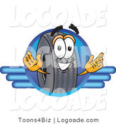 Logo of a Black Rubber Tire Mascot Cartoon Character Logo with a Blue Line Design by Toons4Biz