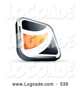 Logo of a Black Square Button with an Orange Wave on White by Beboy