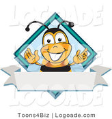 Logo of a Bumble Bee on a Blank White Label by Toons4Biz