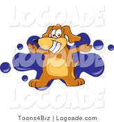 Logo of a Canine with Open Arms over a Blue Splatter by Toons4Biz