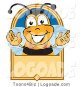 Logo of a Cheerful Bee on a Blank Tan Label by Toons4Biz