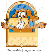 Logo of a Cheery Dog with Open Arms on a Banner by Toons4Biz