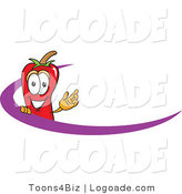 Logo of a Chili Pepper Mascot Cartoon Character Logo with a Purple Swoop by Toons4Biz