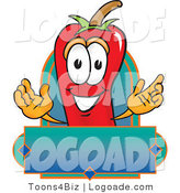 Logo of a Chili Pepper Mascot Cartoon Character with a Blank Blue Label by Toons4Biz