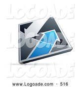 Logo of a Chrome and Blue Diamond with Large Arrows by Beboy