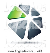 Logo of a Circle of Green and Silver Triangles on White by Beboy
