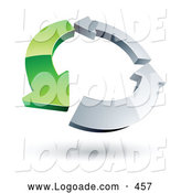 Logo of a Circle of One Green Arrow and Two Chrome Arrows Circling by Beboy