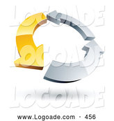 Logo of a Circle of One Yellow Arrow and Two Chrome Arrows on White by Beboy