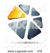 Logo of a Circle of Yellow and Silver Triangles on White by Beboy