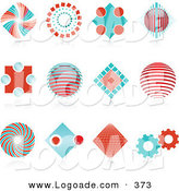 Logo of a Collection of 12 Red and Blue Spiral, Diamond, Globe and Gear Logo Icons over Reflective Surfaces by KJ Pargeter