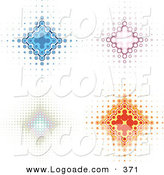 Logo of a Collection of 4 Blue, Pink, and Orange Diamond Backgrounds with Dots Spanning from the Center by KJ Pargeter