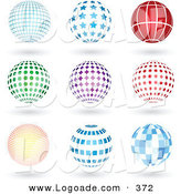 Logo of a Collection of 9 Blue, Red, Green and Purple Grid, Star, Lined, Spotted, Burst, and Square Patterned Sphere Logo Icons with Shadows by KJ Pargeter