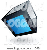 Logo of a Cube with One Blue Transparent Window on White by Beboy