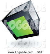 Logo of a Cube with One Green Transparent Window on White by Beboy