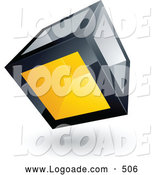 Logo of a Cube with One Yellow Transparent Window on White by Beboy