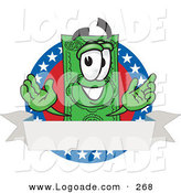 Logo of a Cute Dollar Bill Mascot Cartoon Character on an American Label with a Blank White Banner by Toons4Biz