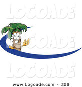 Logo of a Cute Friendly Palm Tree Mascot Cartoon Character Waving and Standing Behind a Blue Dash on an Employee Nametag or Business Logo by Toons4Biz