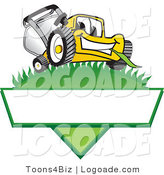 Logo of a Cute Grinning Yellow Lawn Mower Mascot Cartoon Character on a Triangle Logo with a White Label by Toons4Biz