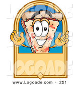 Logo of a Cute Pizza Mascot Cartoon Character on a Blank Tan Label or Sign by Toons4Biz