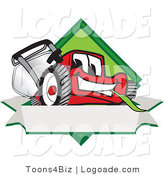 Logo of a Cute Red Lawn Mower Mascot Cartoon Character on a Blank Label Banner by Toons4Biz