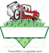 Logo of a Cute Red Lawn Mower Mascot Cartoon Character on a Grassy Hill on a Blank Label by Toons4Biz