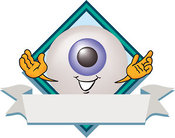 Logo of a Cute Waving Eyeball Mascot Cartoon Character on a Business Logo Label by Toons4Biz