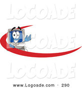 Logo of a Desktop Computer Mascot Cartoon Character with a Red Swish on an Employee Nametag or Business Logo by Toons4Biz